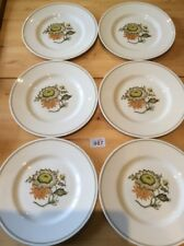 "Susie Cooper / Wedgwood Set Of 6 X 10.6"" Dinner Plates ~ SUNFLOWER C2002 ~ Exc't"