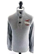 HOLLISTER Mens Jumper Sweater S Small Grey Cotton 1/4 Button