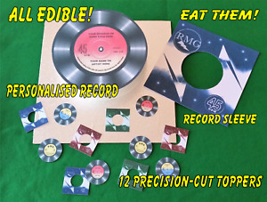 """EDIBLE """" VINYL RECORD """"- Personalised. 7.5in Cake Topper with sleeve,+12 Toppers"""