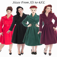 Hearts and Roses Women's Vintage 1950s Retro Winter Wool Plus Size Swing Coat UK