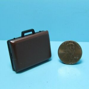 Dollhouse Miniature Brown Metal Brief Case That Opens B0183