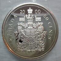 2000 CANADA 50 CENTS PROOF SILVER HALF DOLLAR HEAVY CAMEO COIN