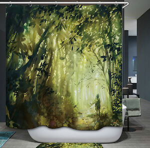 Girl on Forest Path Shower Curtain Green Tree Sunlight Enchanted Mystic Fantasy