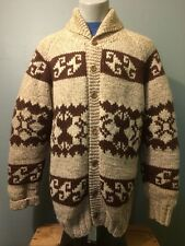 Vtg Wool Cowichan Sweater Dude Lebowski Shawl Roll Collar Knit Mens Lined Beach