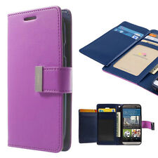 Korean Mercury Rich Diary Double Wallet Case Cover for HTC One M9 - Purple