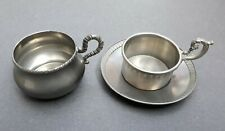 Lavorazione a Mano Rama Peltro 95% Pewter 2 Cups and 1 Saucer Made In Italy