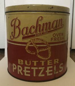 Vintage BACHMAN Bakeries Oven Fresh PRETZELS Advertising Tin Can Reading PA