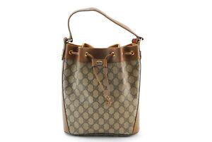 【Rank AB】Vintage Gucci Sherry line GG PVC Leather Drawstring Bag Brown JapanA012