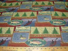 """~3Yds~Regal """"Pinetree Inn"""" Fishing Camping Tapestry Upholstery Fabric For Less~"""