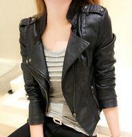 Womens Rivet Motorcycle Leather Slim Washable Coat Jacket Punk Short Biker Coat