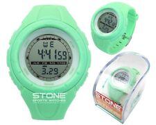 Ladies Sports Waterproof Watch Girls Running Swimming Green Watch STONE® Brand