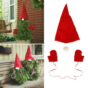 3Pcs Christmas Tree Gnome Red Topper Cover Red Dress Up Set Xmas Tree Top Decor