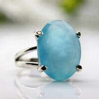 Mother's day Gift 925 Sterling Silver Chalcedony Gemstone Prong Setting Ring