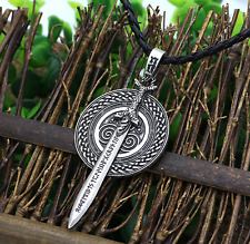 Norse Viking Celtic Rune Vanir Frey Sword Pendant Necklace