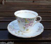 Vintage Art Deco Colclough Longton Bone China Floral Tea Cup & Saucer Wedding