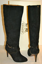 New $398 Coach Milly Suede Leather Vachetta Black Knee Boot Heel 9.5 M