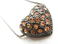 Black bling amber Rhinestone Diamante Heart pendant necklace Valentines gift new