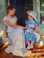 Art Oil painting portrait young mother and little daughter on-the-porch canvas