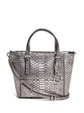 Guess Delaney Crossbody mini Tote purse Handbag Python Embossed Metallic Pewter