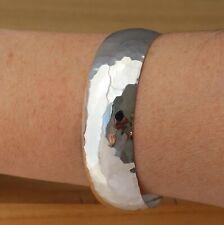 925 Sterling Silver Hammered Open Cuff Bangle Bracelet 20mm Wide UK Hallmarked