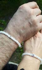 Partnerarmband 2x weiß Polarisperlen Namensarmband Paarschmuck Partner Armband