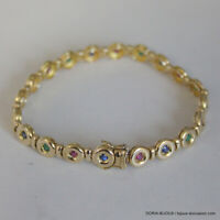 Bracelet Or 750 18k Rubis/Saphirs/Emeraudes 17.8grs - Bijoux occasion