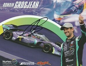 2021 ROMAIN GROSJEAN signed INDIANAPOLIS 500 HERO PHOTO CARD POSTCARD INDY CAR