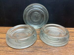 Vintage Lot of 3 Clear Glass Furniture Coasters Floor Protectors Castors