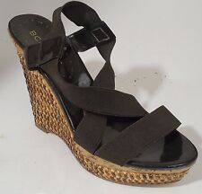 BCB Girls Mely Womens Platform Wedge Heels Brown Tan Slip On Leather sz 7.5 Med