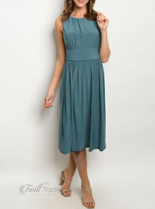 Gilli | Sage Sleeveless Wide Waistband Ruched Mid-Length Dress | NWT Size: S, L