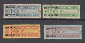 Liberia # F6-9 MINT Complete 1894 Registration Set CV $22!