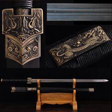 "Hand Forge Chinese Sword ""Han Jian""(剑) Folded Steel Sharp Swords Alloy Fittings"