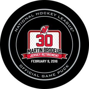 Martin Brodeur Jersey Retirement Night Official Game Puck New Jersey Devils