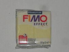 Pain de pâte fimo effect jaune citrine (translucide/nacrée) N°106, poids:57g