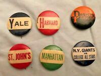 VINTAGE PINBACKS PINS BUTTON -YALE - HARVARD - PRINCETON - ST. JOHN'S -MANHATTAN