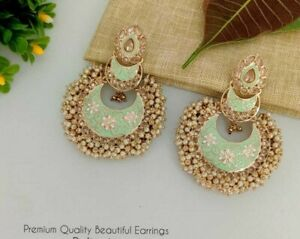 Bollywood Style Gold Plated Pearl Enameled Indian Bridal Earrings Jewelry Set