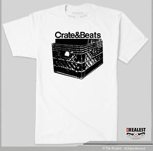 CRATE & BEATS  T SHIRT  TURNTABLE DJ CLASSIC TECHNICS  1200 MPC HIP HOP MIXER