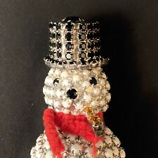VINTAGE DOROTHY BAUER HOLIDAY RHINESTONE SNOWMAN CHRISTMAS PIN BROOCH