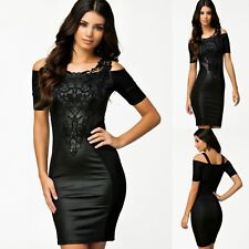 Sexy Black w Lace Short Sleeve Cocktail Party Dance Club Slim Formal Dress