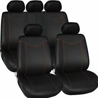 9PCs Black Sporty Racing Full Car Seat Cover Set Car Protector Cover Front Seat