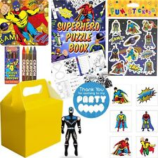 Pre Filled Boys Superhero Party Bag Yellow Box Ready Made Loot Gift Bags Favours