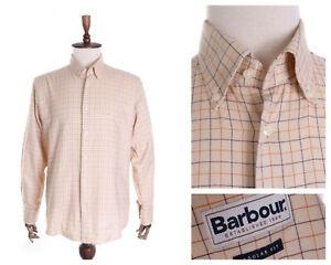 Men's BARBOUR  Beige Check 100% Cotton LS Regular Shirt Size L