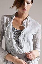 Eileen Fisher Silver Metallic Cashmere Crush Flutter Cardigan S $278
