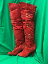 "WILD PAIR VTG RED SUEDE LEATHER OTK BOOTS SZ 10 - Late 1980s - 26"" High"