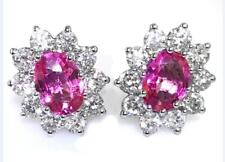 2.00ct Pink Sapphire and 1.00ct F VS Diamond Cluster Earrings in 18ct White Gold