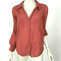 Joie Cotton Button Down Shirt Blouse Long Sleeve Red Pockets Top Women Small
