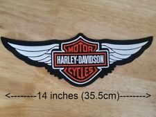 Harley Davidson Orange Logo with Wings Sew-on Patch (1XL)