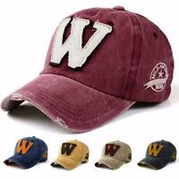 Retro Embroidery Letter W Denim Washed Baseball Cap Unisex Adjust Snapback Hat