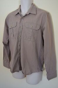 Fair Indigo Mens M Khaki Tan Expedition Hiking Trail Camp Work Sport Shirt