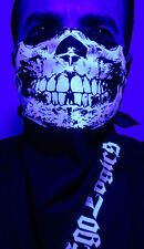BLUE GLOW IN THE DARK SKULL NAVY BANDANA HALF FACE MASK RAVE UV BLACKLIGHT PSY